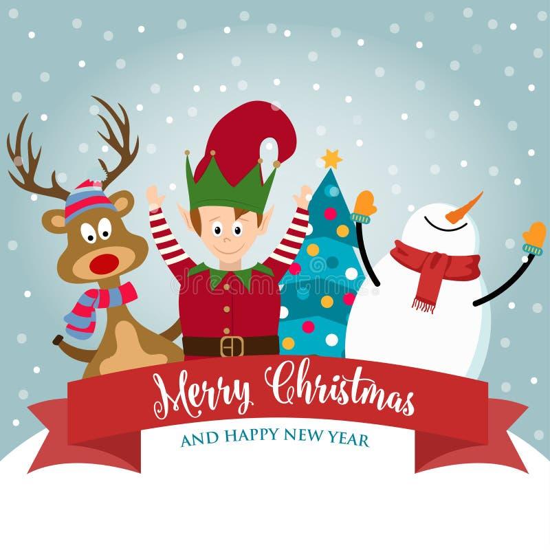Kartka bożonarodzeniowa z ślicznym elfem, bałwanem i reniferem, royalty ilustracja