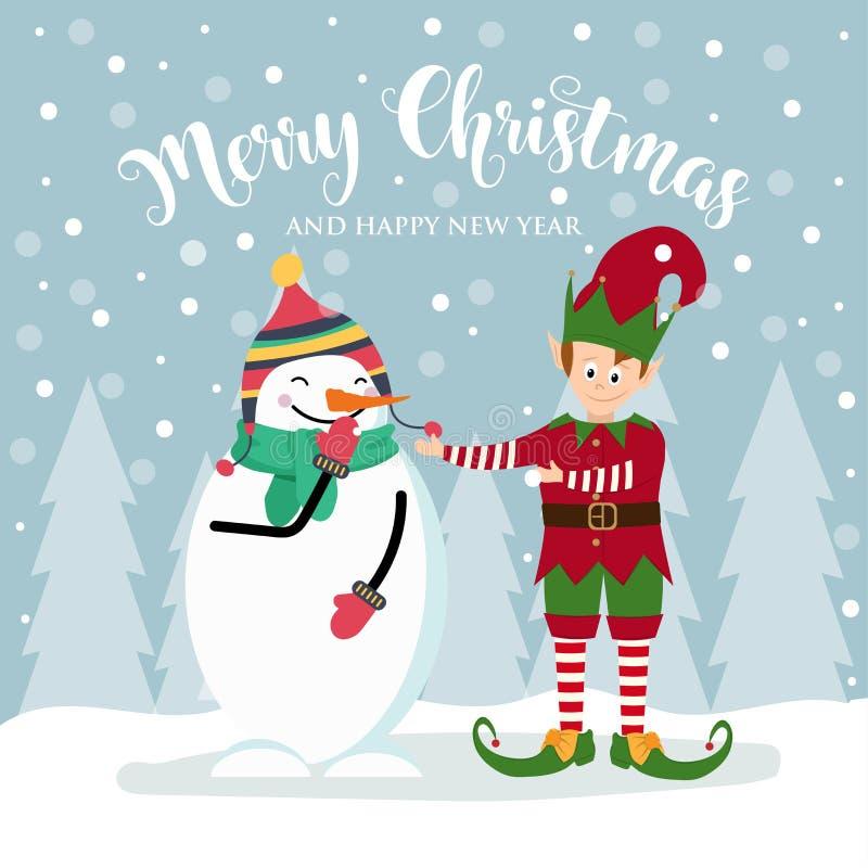 Kartka bożonarodzeniowa z ślicznym elfem i bałwanem ilustracja wektor