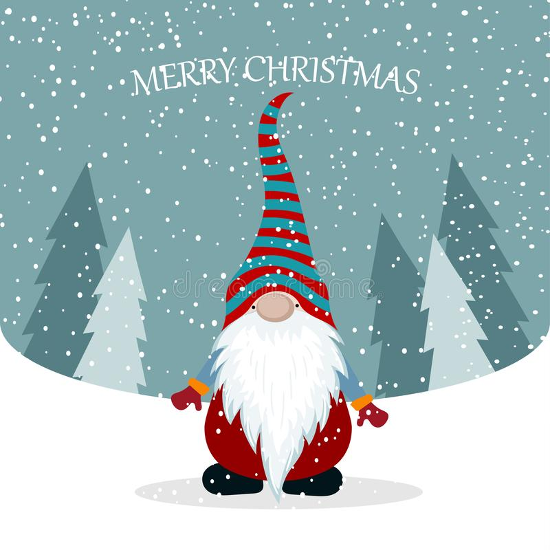 Kartka bożonarodzeniowa z ślicznym gnomem ilustracji