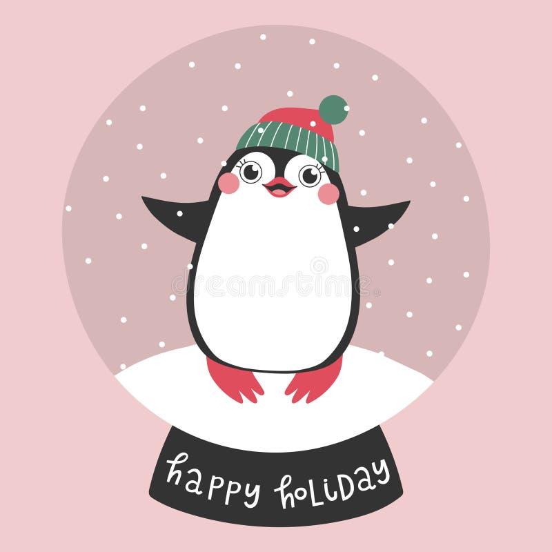 Kartka bożonarodzeniowa z ślicznym pingwinem w śnieżnym kuli ziemskiej i teksta Szczęśliwym wakacje ilustracja wektor