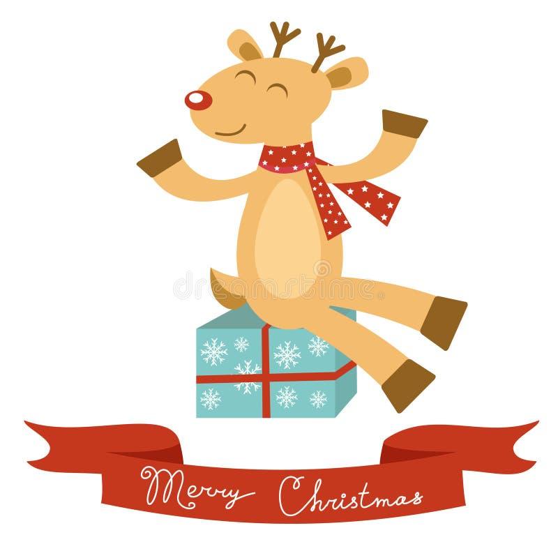 Kartka bożonarodzeniowa z ślicznym rogaczem ilustracji