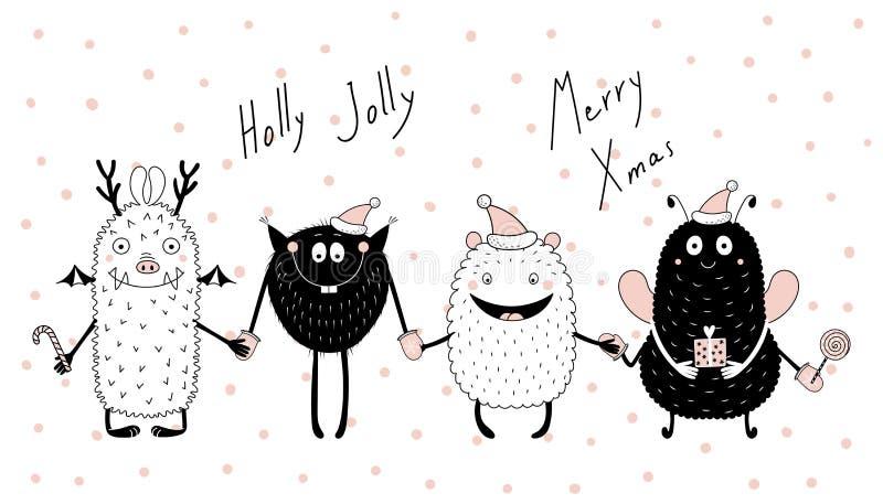 Kartka bożonarodzeniowa z ślicznymi śmiesznymi potworami ilustracji