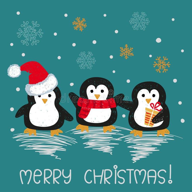 Kartka bożonarodzeniowa z ślicznymi doodle pingwinami royalty ilustracja