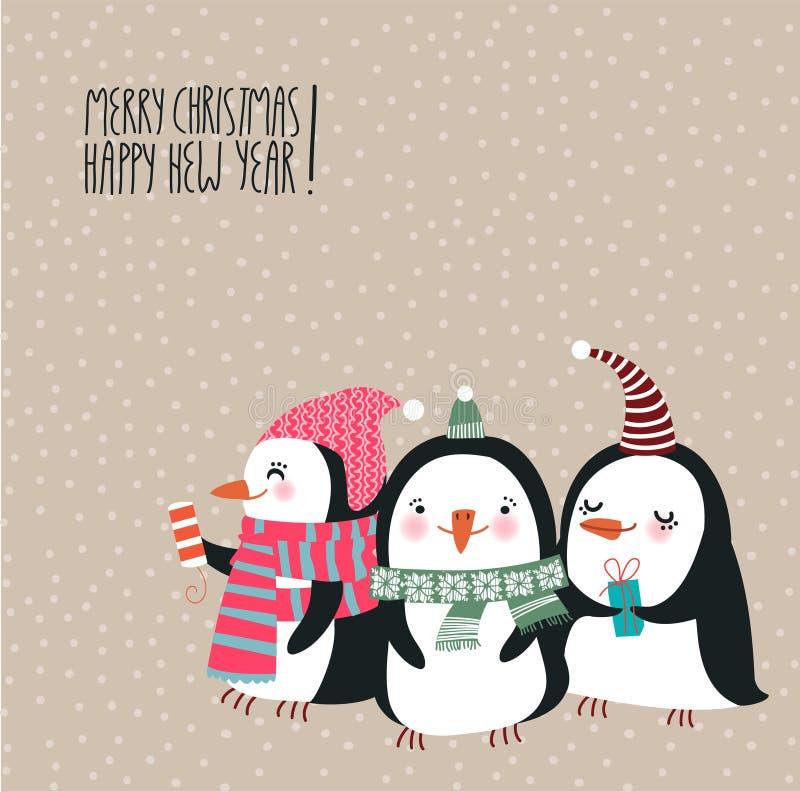 Kartka bożonarodzeniowa z ślicznymi pingwinami ilustracja wektor