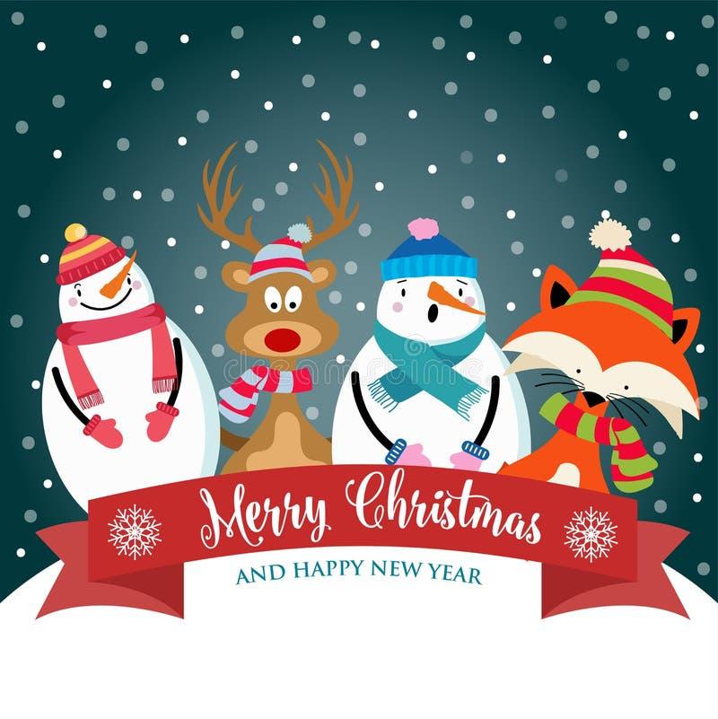 Kartka bożonarodzeniowa z ślicznymi ubierającymi zwierzętami, bałwanem i życzeniami, ilustracji