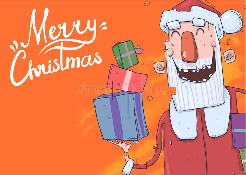 Kartka bożonarodzeniowa z śmieszny Święty Mikołaj ono uśmiecha się Święty Mikołaj przynosi teraźniejszość w kolorowych pudełkach  ilustracja wektor