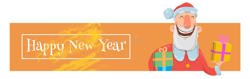 Kartka bożonarodzeniowa z śmieszny Święty Mikołaj ono uśmiecha się Święty Mikołaj przynosi teraźniejszość w kolorowych pudełkach  ilustracji