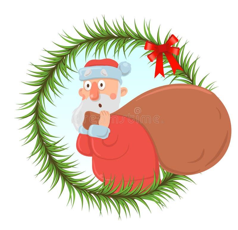 Kartka bożonarodzeniowa z śmiesznym Święty Mikołaj niesie dużą torbę teraźniejszość ilustracja wektor
