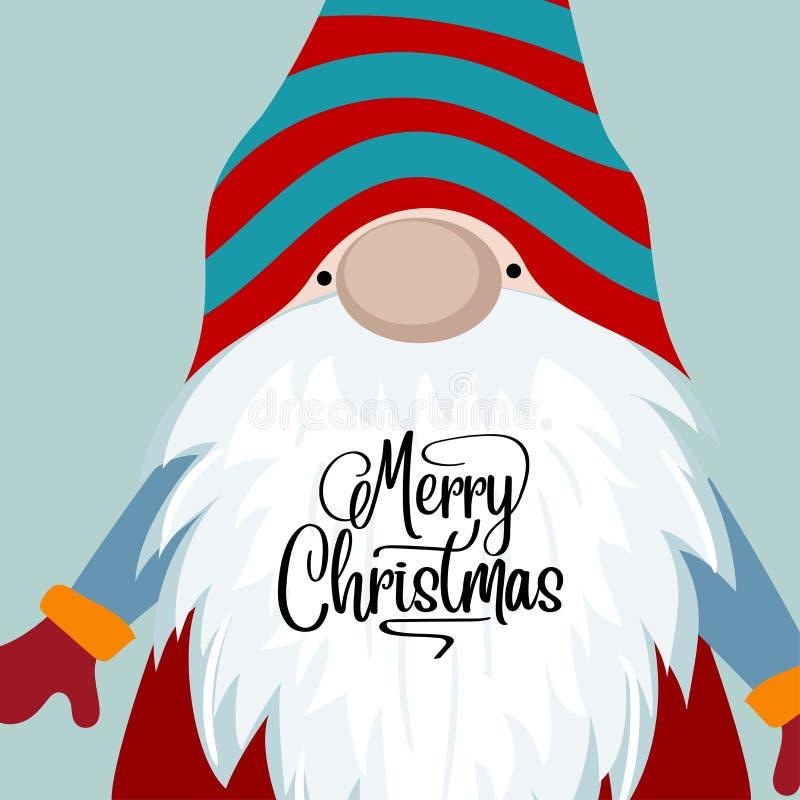 Kartka bożonarodzeniowa z śmiesznym gnomem ilustracji