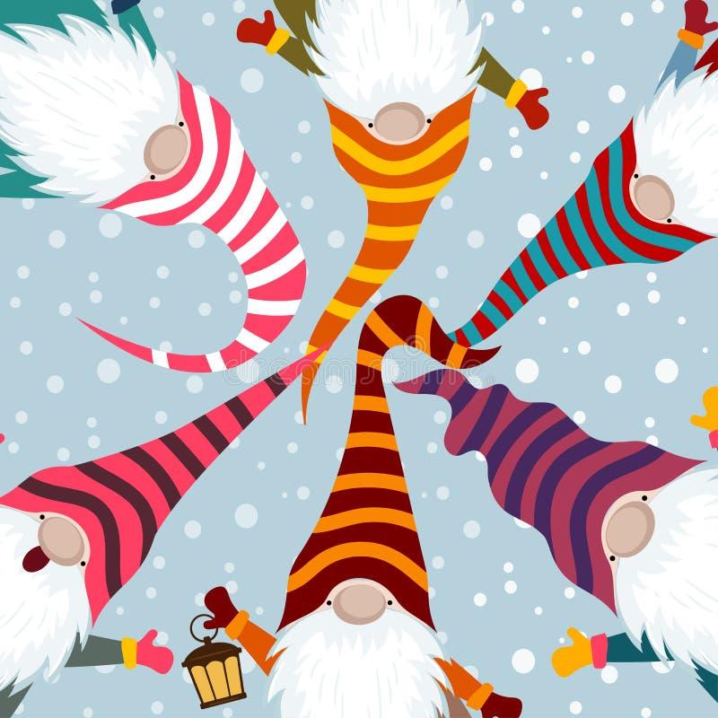 Kartka bożonarodzeniowa z śmiesznymi gnomami ilustracja wektor