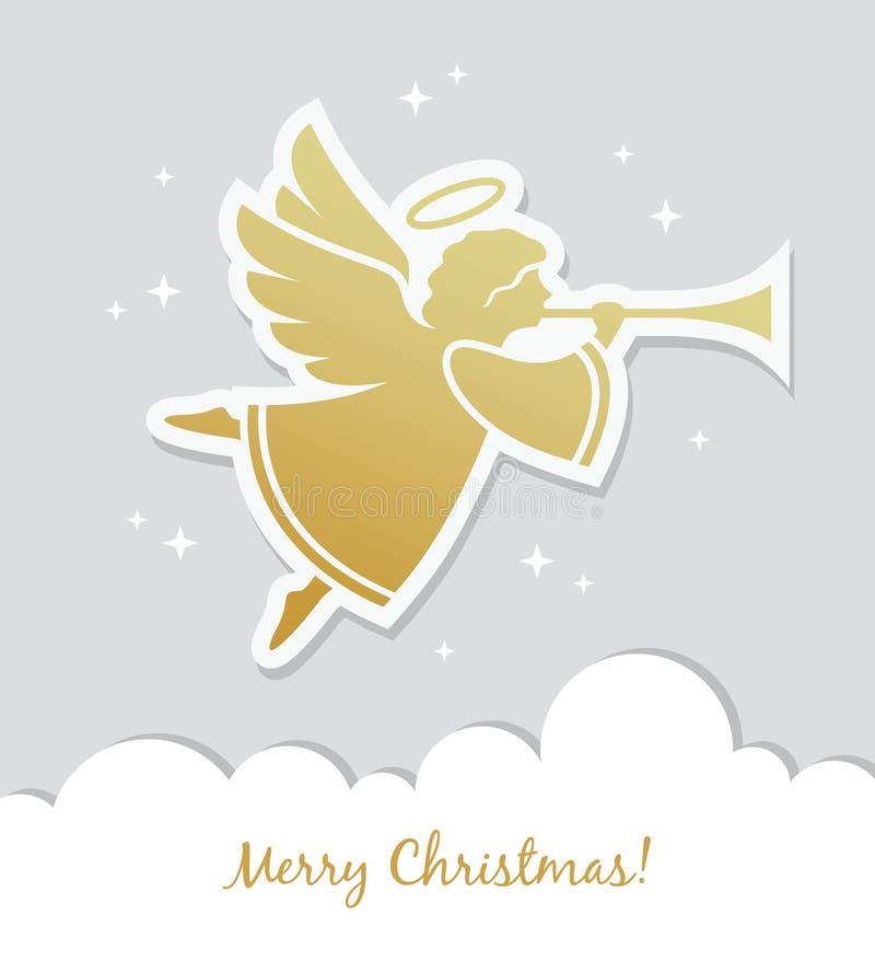 Kartka bożonarodzeniowa z aniołem ilustracji