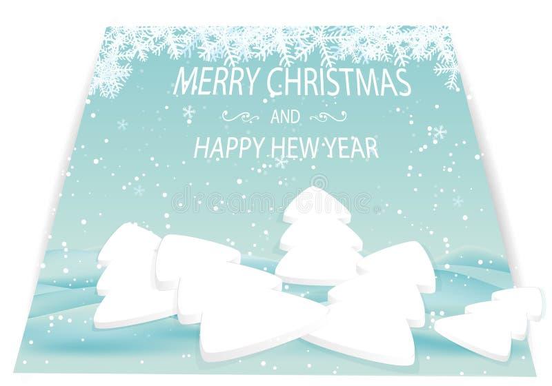 Kartka bożonarodzeniowa z białymi śniegów dryfami i drzewami ilustracji