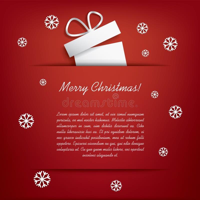 Kartka bożonarodzeniowa z Bożenarodzeniowymi teraźniejszość ilustracja wektor