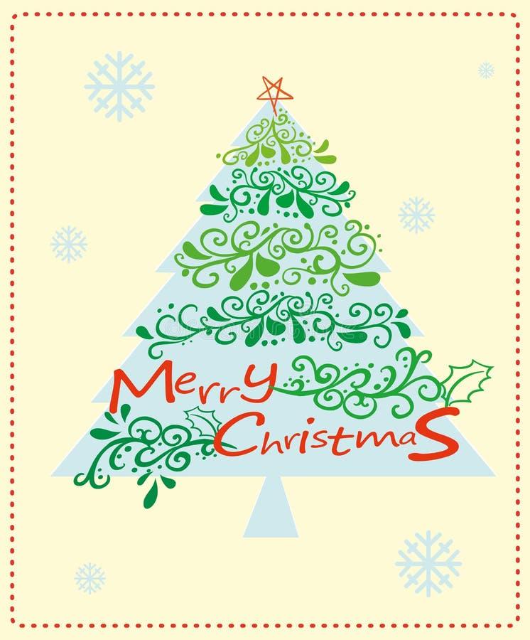 Kartka bożonarodzeniowa z choinką royalty ilustracja