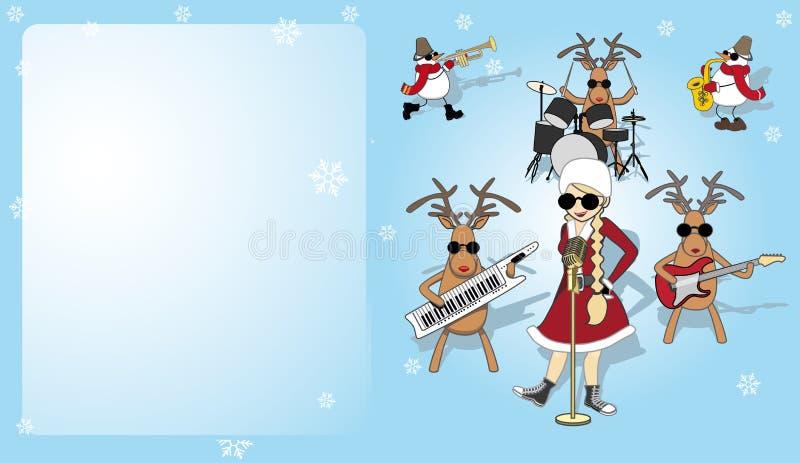 Kartka bożonarodzeniowa z dziewczyną, bałwanem i reniferem, ilustracja wektor