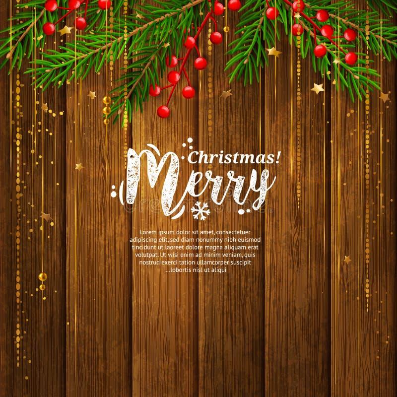 Kartka bożonarodzeniowa z girlandą robić od jodły rozgałęzia się, czerwone jagody, złociste wibrujące linie Drewniany deski tło w ilustracji
