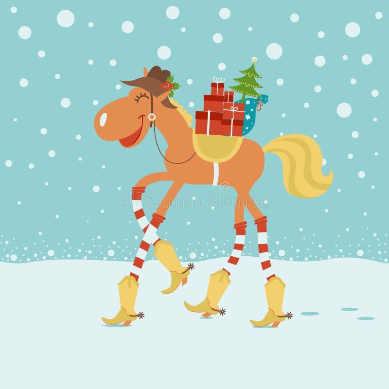 Kartka bożonarodzeniowa z koniem w kowbojskim kapeluszu i butach w zima plecy ilustracji