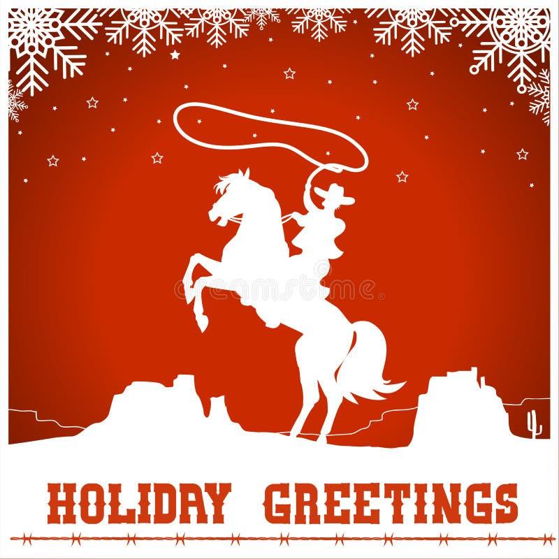 Kartka bożonarodzeniowa z kowbojską przejażdżką końska sylwetka ilustracji