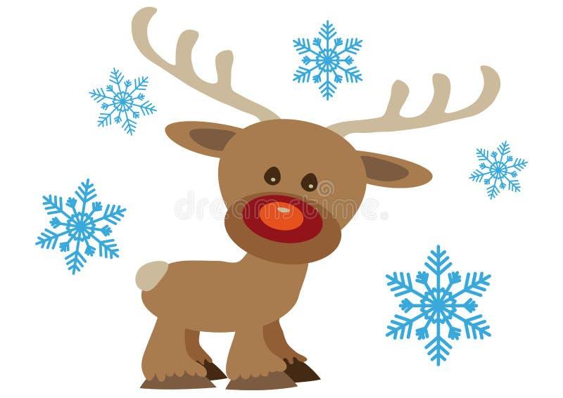 Kartka bożonarodzeniowa z kreskówki Rudolf płatkami śniegu i reniferem ilustracji