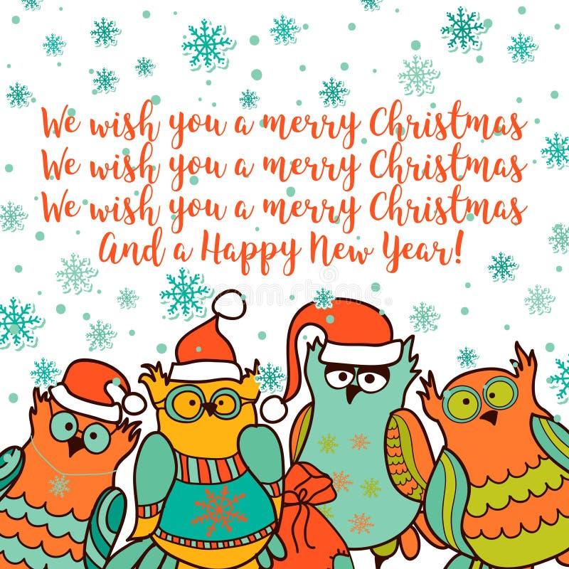 Kartka bożonarodzeniowa z kreskówki sową royalty ilustracja