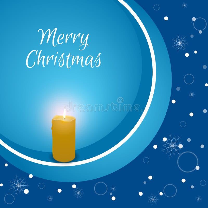 Kartka bożonarodzeniowa z płonącą świeczką na błękitnym tle z płatkami śniegu Stosowny dla sieć druku i projekta royalty ilustracja