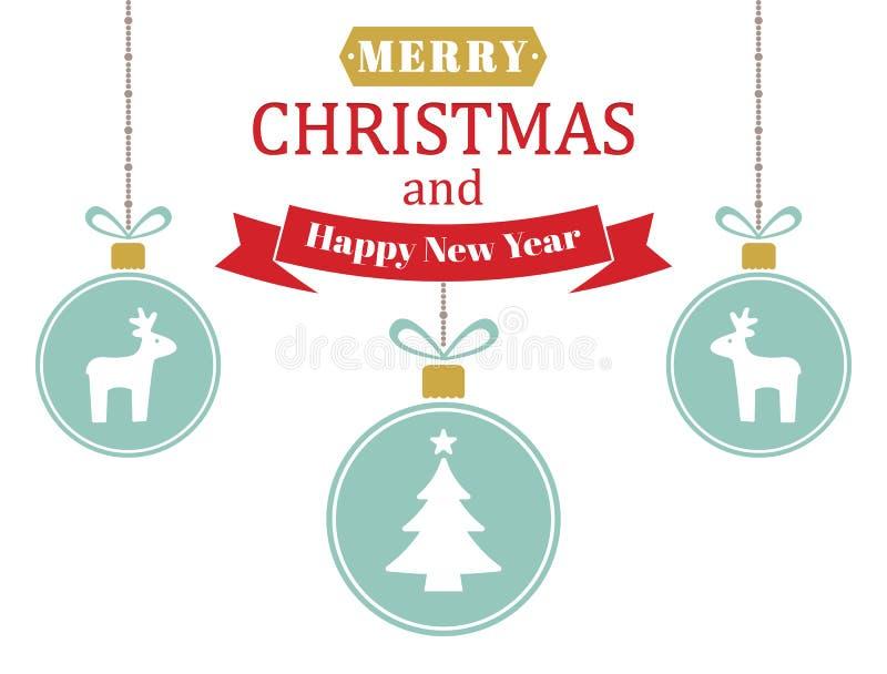 Kartka bożonarodzeniowa z piłkami w retro stylu Xmas piłki z wakacyjnym ornamentem Zima wakacje projekt z piłkami, renifery, boże royalty ilustracja