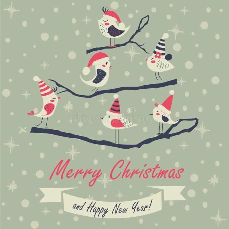 Kartka bożonarodzeniowa z ptakami royalty ilustracja