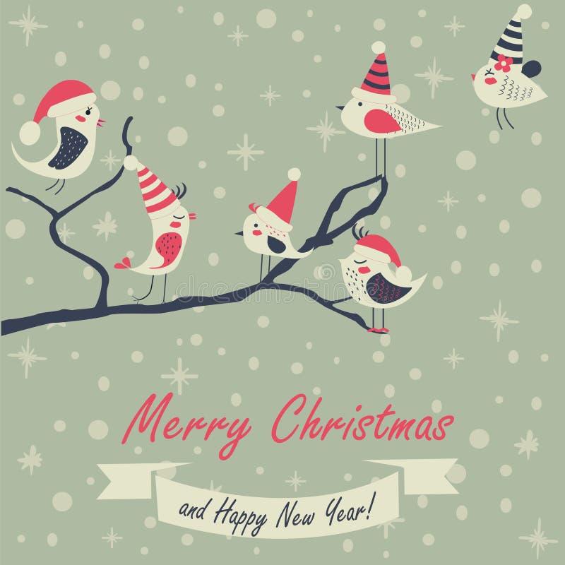 Kartka bożonarodzeniowa z ptakami ilustracja wektor