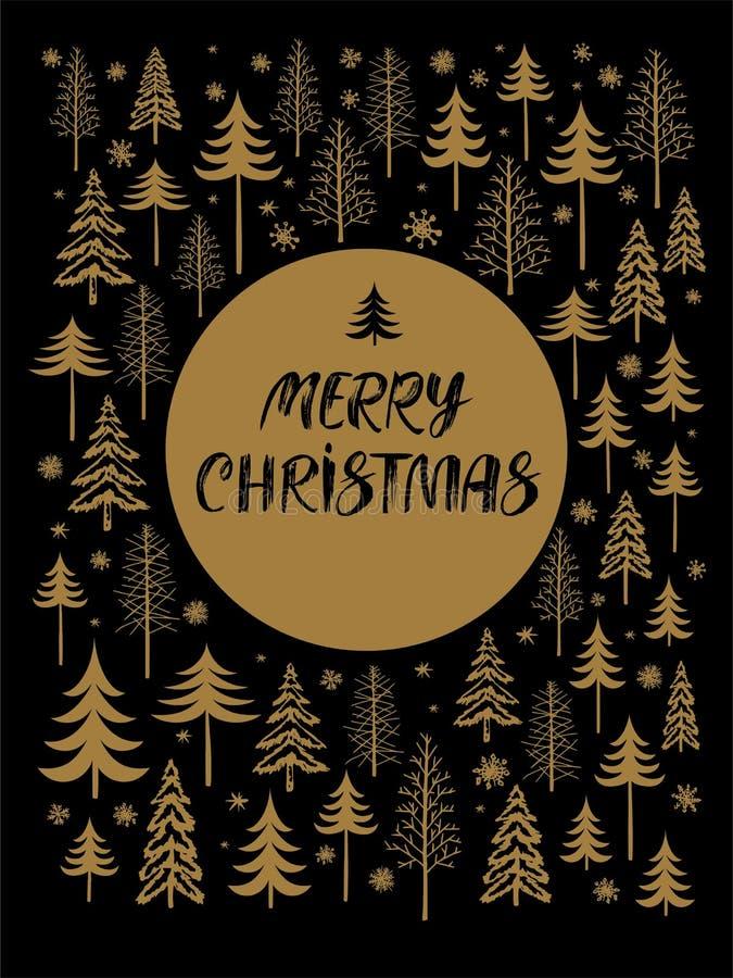 Kartka bożonarodzeniowa z ręką rysującą piszący list Wesoło boże narodzenia Zimy tło z różnorodnymi jodłami, choinka, śnieg ilustracja wektor