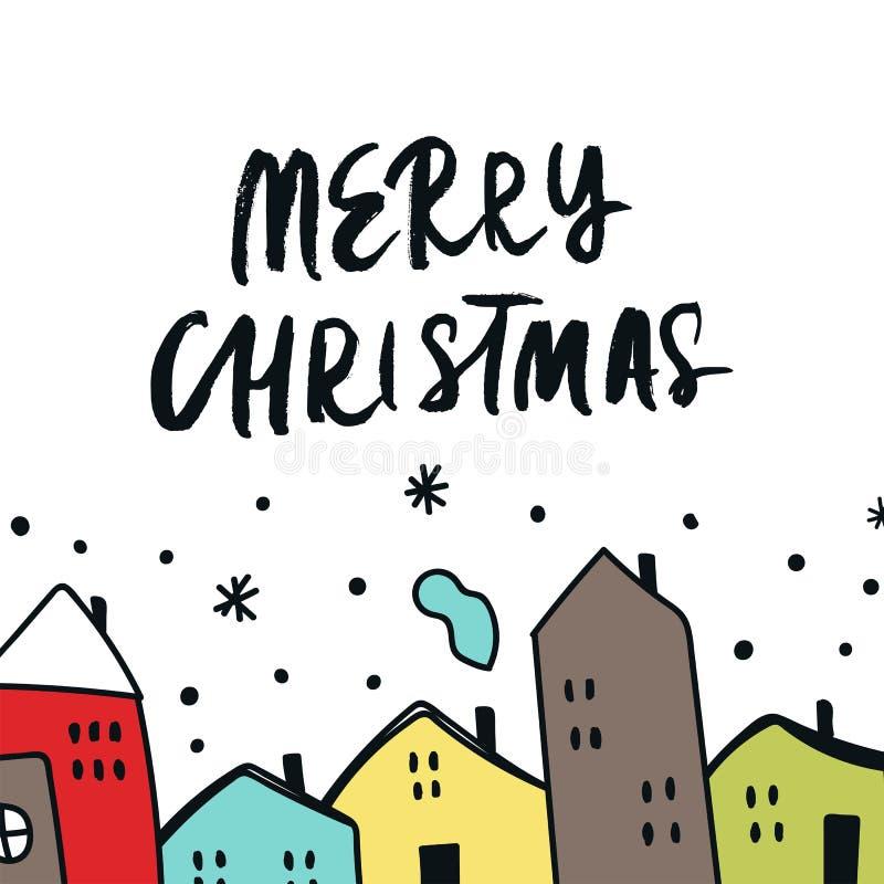 Kartka bożonarodzeniowa z ręka rysującymi kreskówka koloru domami, śnieżnym niebem i handdrawn literowaniem, Nowego Roku wektoru  royalty ilustracja