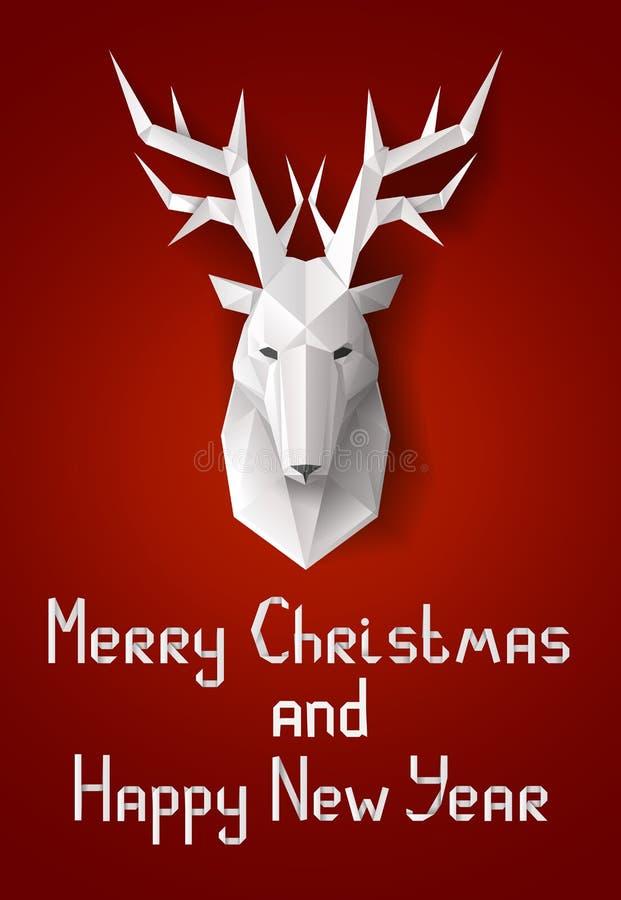 Kartka bożonarodzeniowa z rogaczami royalty ilustracja