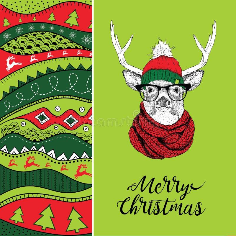 Kartka bożonarodzeniowa z rogaczem w zima kapeluszu Bożenarodzeniowy pociągany ręcznie ethno wzór, plemienny tło również zwrócić  ilustracji