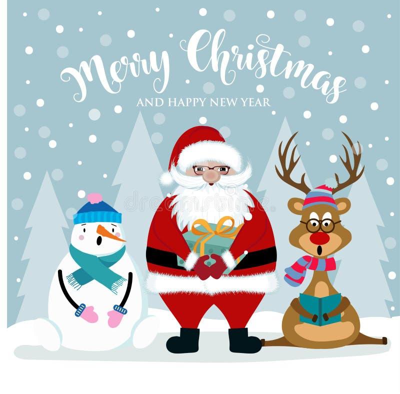 Kartka bożonarodzeniowa z Santa, bałwanem i reniferem, royalty ilustracja