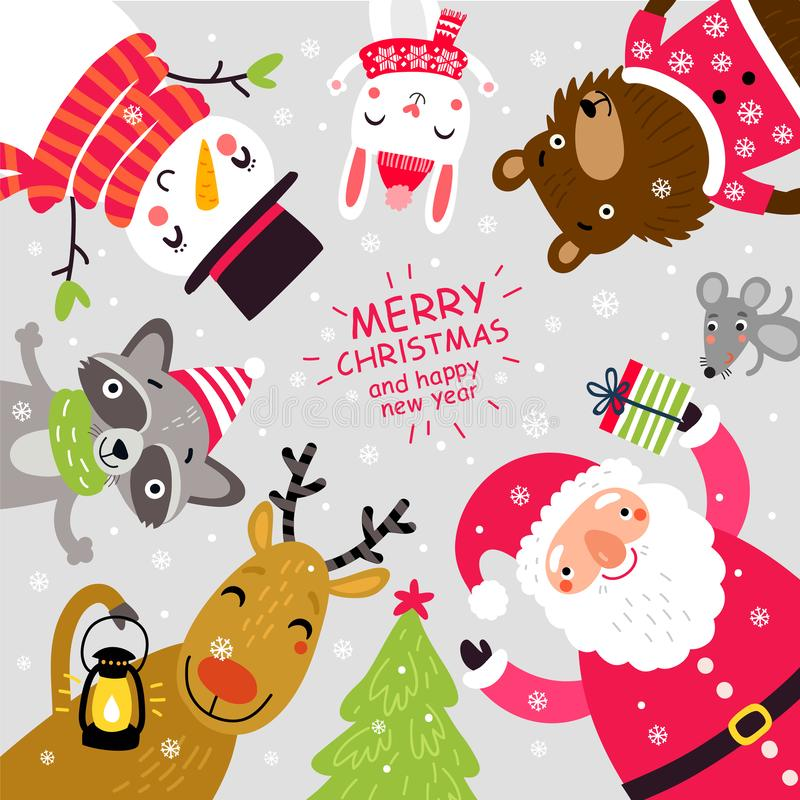 Kartka bożonarodzeniowa z Santa i zwierzętami charaktery śliczni ilustracja wektor