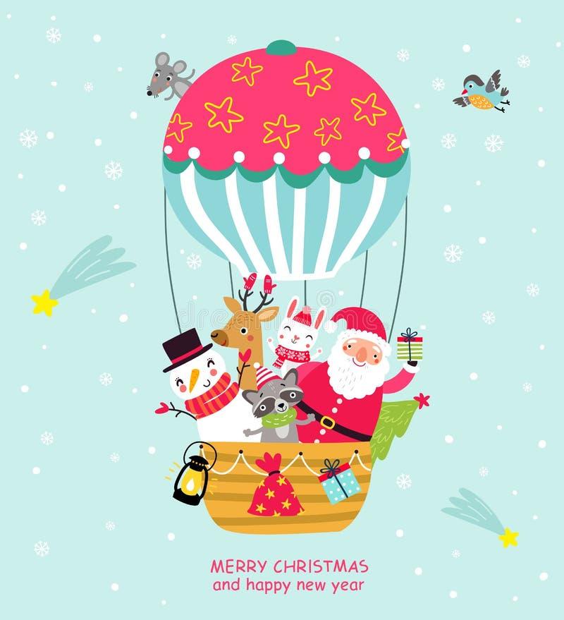 Kartka bożonarodzeniowa z Santa i zwierzętami Nowego Roku ` s plakat ilustracja wektor