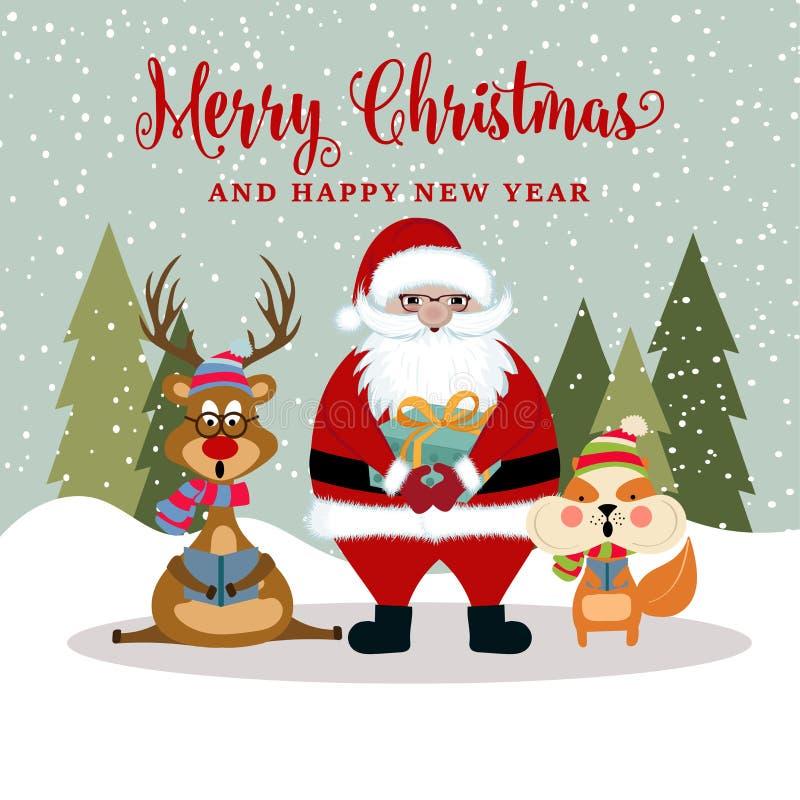 Kartka bożonarodzeniowa z Santa, reniferem i wiewiórką, ilustracja wektor