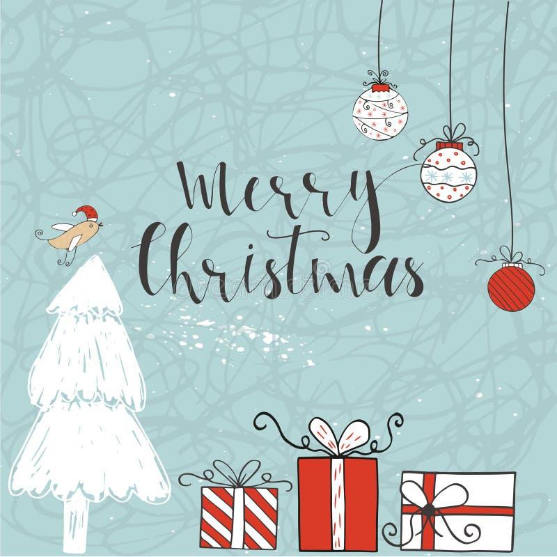 Kartka bożonarodzeniowa z tekstem, drzewem i teraźniejszość na zimy tle, royalty ilustracja