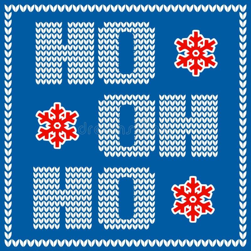 Kartka bożonarodzeniowa z trykotowym Święty Mikołaj hohoho zwrotem na błękitnym tle ilustracja wektor