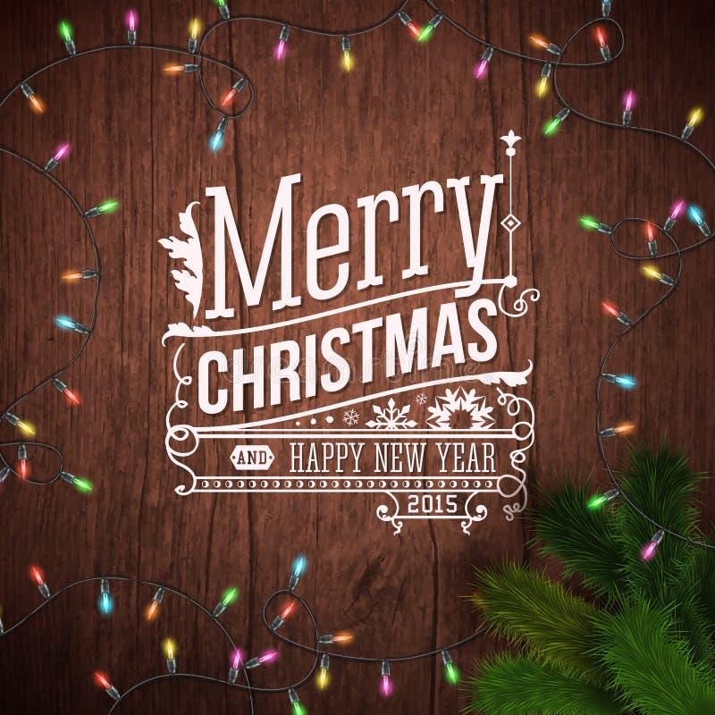Kartka bożonarodzeniowa z typografia projektem royalty ilustracja