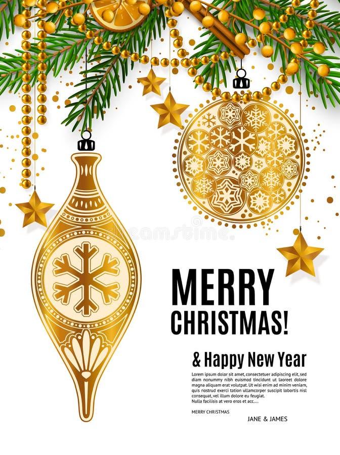 Kartka bożonarodzeniowa z złotymi ornamentacyjnymi xmas piłkami royalty ilustracja