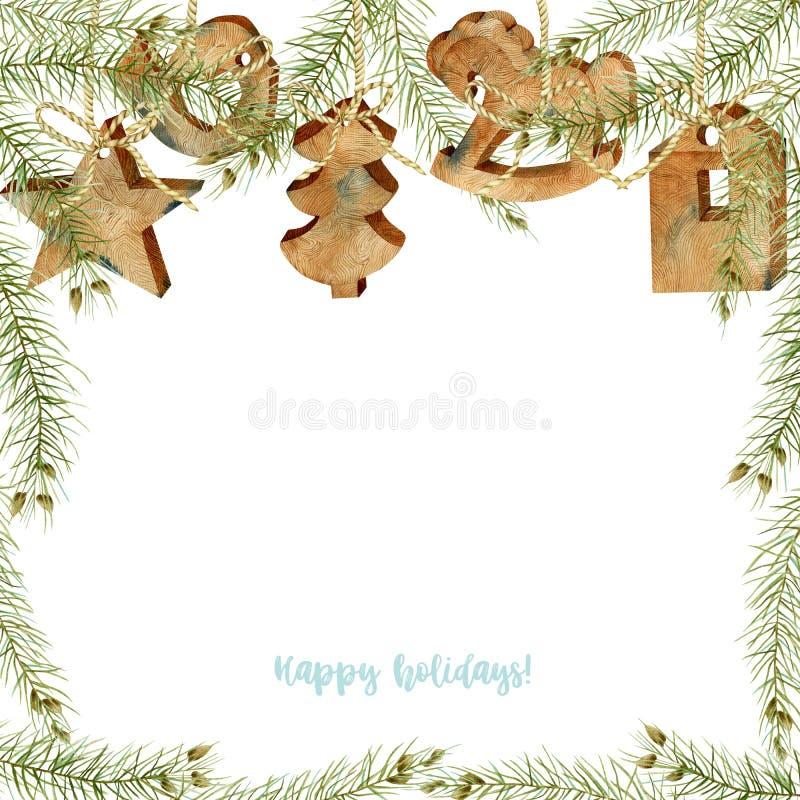 Kartka okolicznościowa z dekoracjami świątecznymi z drewna akwarelowego i gałęziami świerka royalty ilustracja