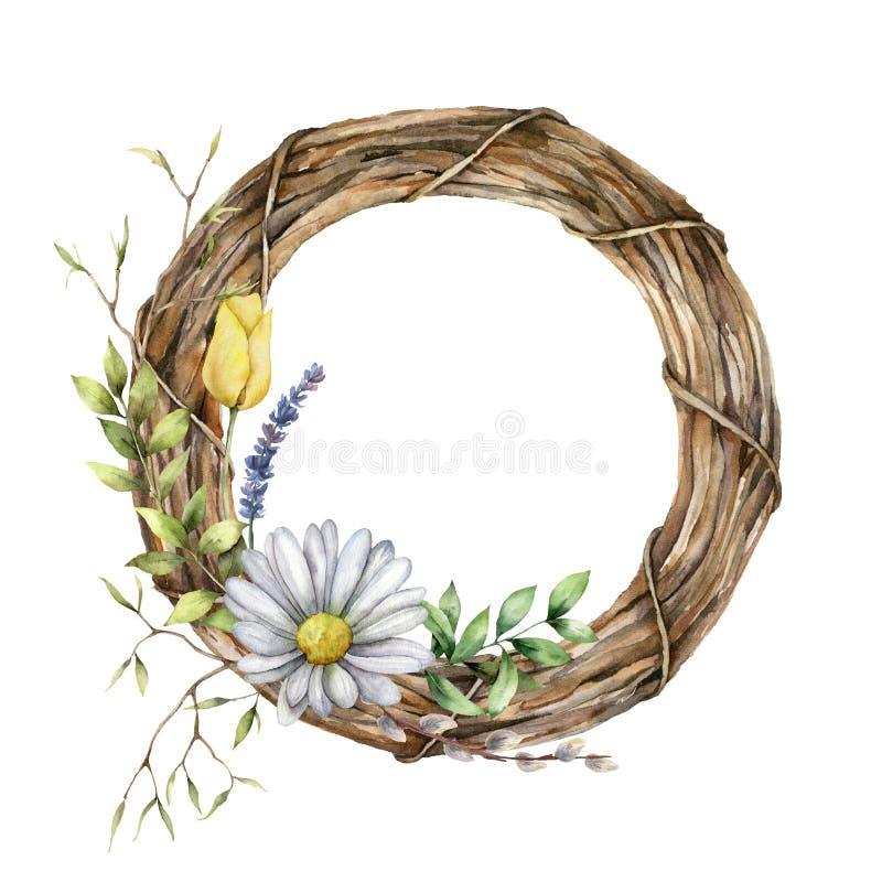 Kartka sprężynowa w kolorze wodnym z wietrzem i roślinami Wyizolowane ręcznie malowane rumianki, pansy, wierzba, lawenda, tulipan ilustracja wektor