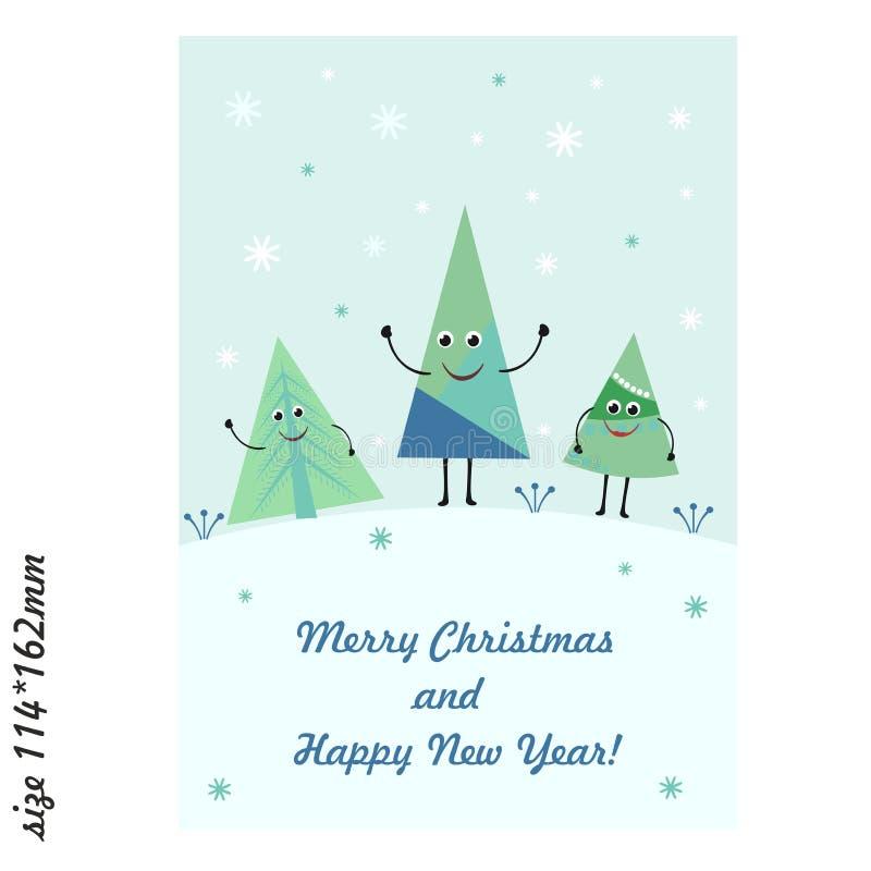 Kartka z pozdrowieniami z ślicznymi śmiesznymi choinkami Wesoło boże narodzenia i Szczęśliwy nowy rok ilustracja wektor