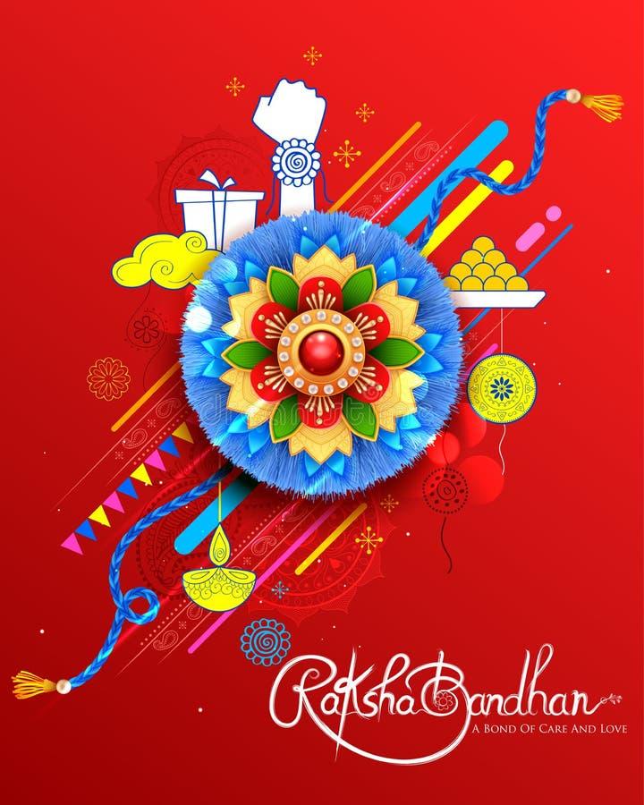 Kartka z pozdrowieniami z Dekoracyjnym Rakhi dla Raksha Bandhan tła ilustracja wektor
