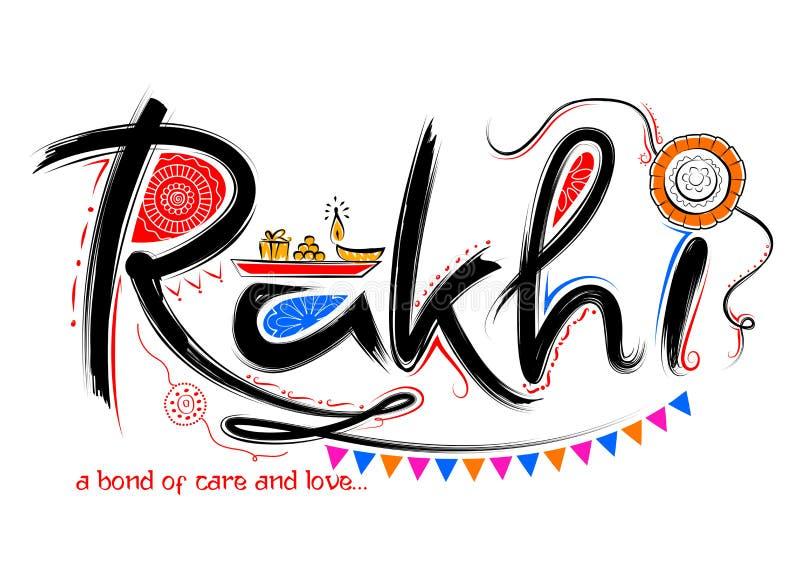 Kartka z pozdrowieniami z Dekoracyjnym Rakhi dla Raksha Bandhan tła ilustracji