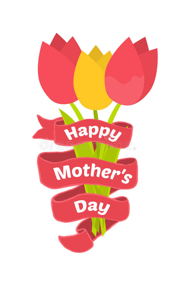 Kartka z pozdrowieniami dla matka dnia Tulipanowy bukiet w płaskim projekcie royalty ilustracja