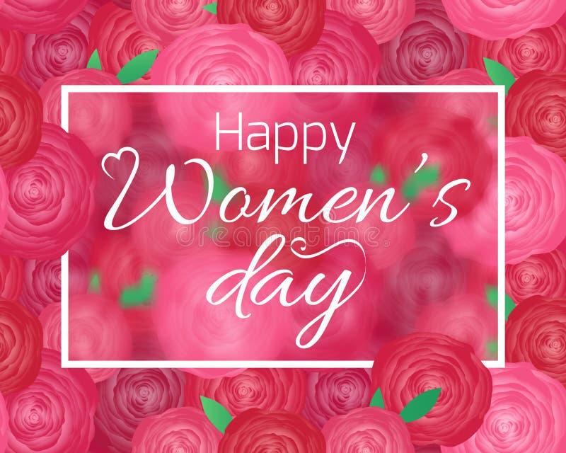 Kartka z pozdrowieniami dla Międzynarodowego kobieta dnia z różami ilustracja wektor