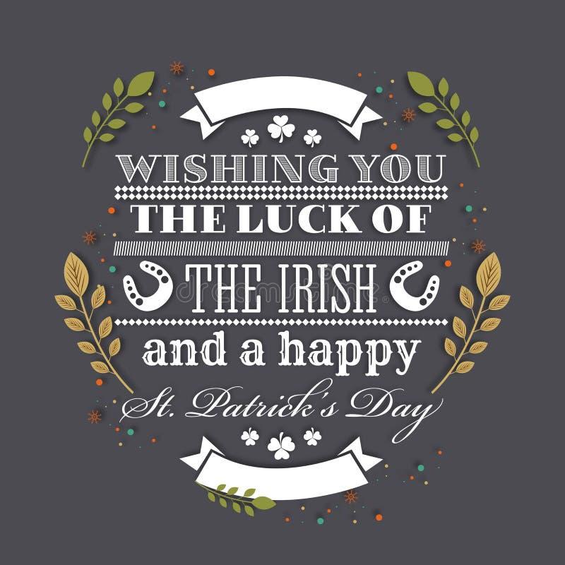 Kartka z pozdrowieniami dla st Patrick dnia świętowania ilustracji