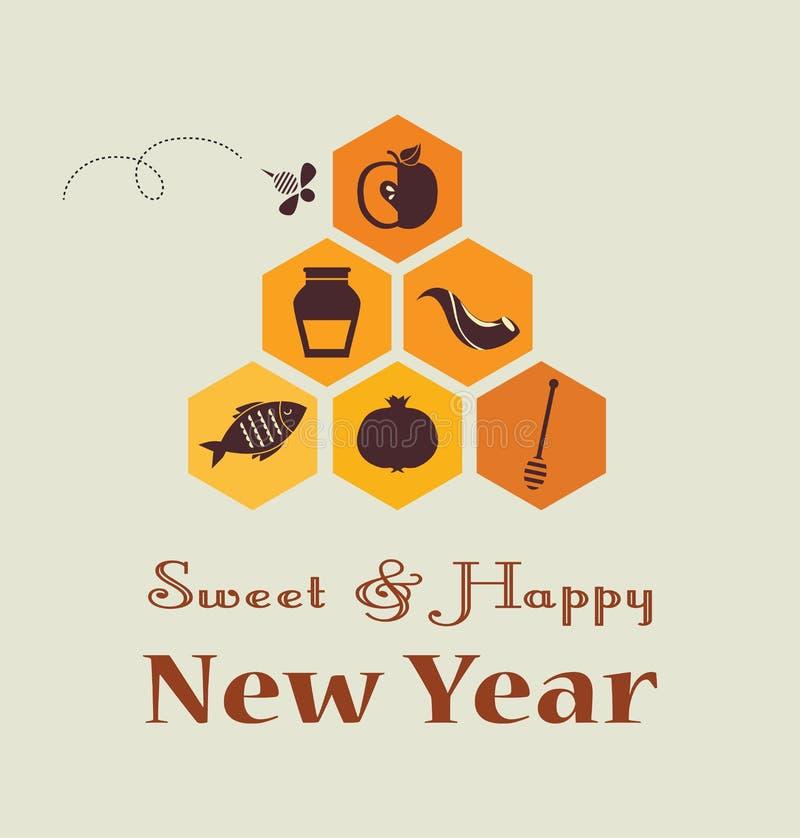 Kartka z pozdrowieniami dla Żydowskiego nowego roku, rosh hashana z tradycyjnymi owoc, ilustracja wektor