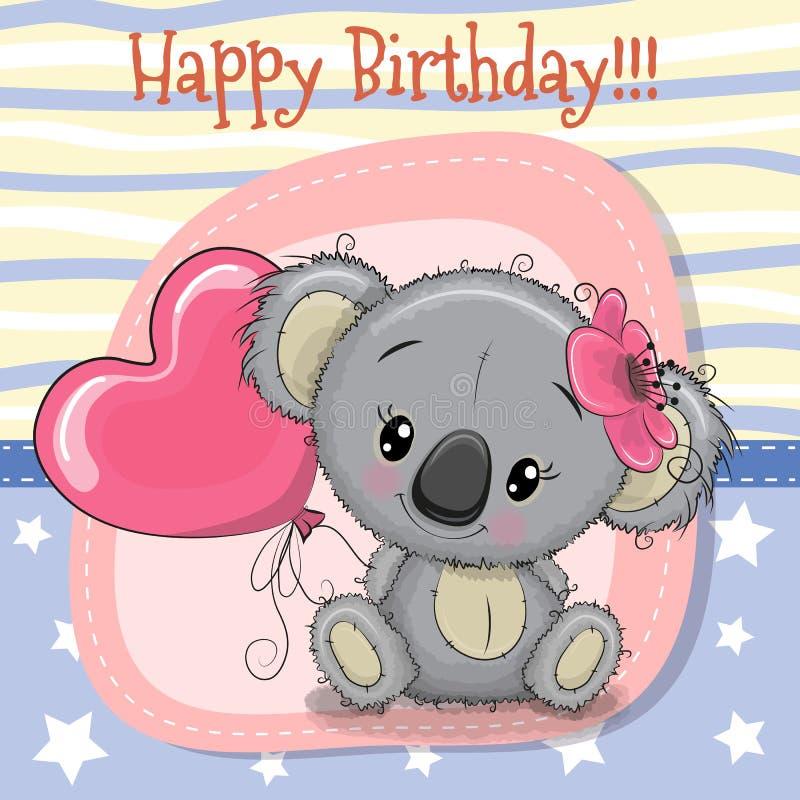 Kartka z pozdrowieniami koali dziewczyna z balonem ilustracja wektor